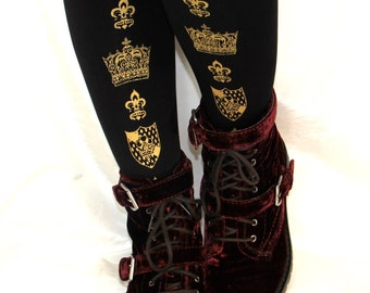 L Crown Printed Tights Large Gold on Black Royal Womens Medieval Fleur De Lys Gothic Lolita Hime Gyaru Dolly Kei
