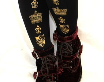 Crown Tights Large Gold on Black Royal Printed Medieval Gothic Lolita Hime Gyaru Dolly Kei