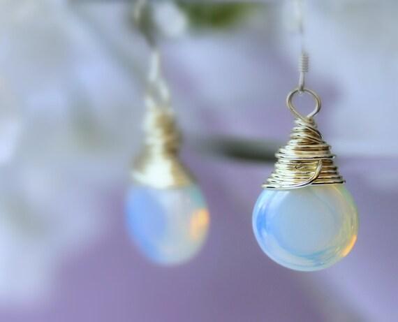 Opalite Earrings, Dangle Earrings, Drop Earrings, Wire Wrapped Earrings, Birthday, Bridal Jewelry, Wedding Earrings, Easter, Mother's Day