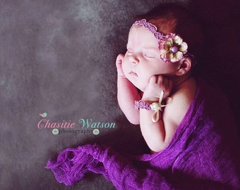 THE SERENA--Purple Flower Newborn or Baby Halo Headband & Bracelet Set Photography Prop