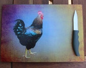 Cutting Board, Glass Cutting Board, Chicken, Rooster, Farmhouse, Country, Food, Chicken, Cheese Board,Kitchen,Chicken Kitchen Functional Art
