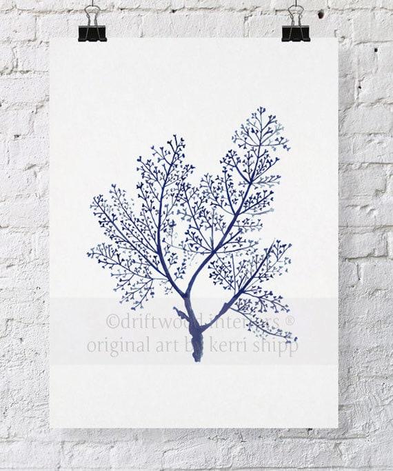 Sea Fern in Denim Blue Watercolor Print 11x14 - Denim Sea Corals - Watercolour Coral Art - Coral Art Print - Hamptons Style Art