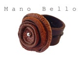 Rustic Leather Flower Ring wide band Rust and Brown sz 6 - 6 1/2,  1 in stock