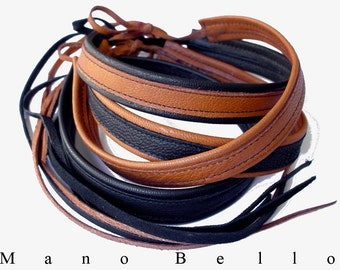 20% off Mano Bello leather chokers,Womens Leather Choker Necklace,Honey Tan Black Leather Brown leather Goatskin chokers for women for men