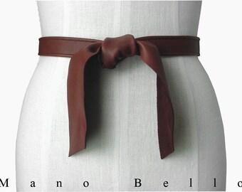 SALE Soft Leather Tie Belt Leather Coat Belt  Favorite Skinny Belt Brown or Black Leather Tie Belt 3/4 inch wide 29 - 46 waists in stock