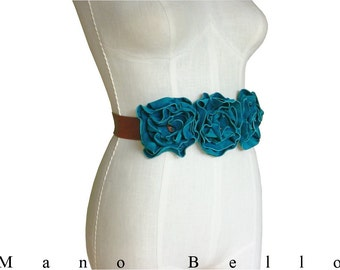 Wedding Flower Sash Turquoise Bridal Sash, Leather Flower Belt, Custom Wedding dress belt, Statement Belt,  on Acorn Tan