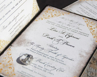 Exquisite Scrolls wedding invitation Set. Rustic, elegant parchment wedding invitations.