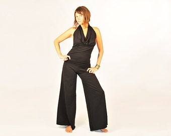 Yoga Pants for Women - Palazzo Pants - Wide Leg Pants - Black - Eco Friendly - Organic Clothing