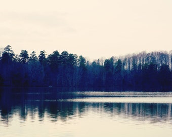 Lake Landscape Photo -  Fine Art Photography, lake, water, lake norman, reflection, ethereal photo, blue, trees, landscape, tranquil