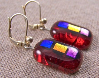 """Dichroic Earrings - RUBY RED Stained Glass Copper Orange Blue Purple Gemstone Accents of Dichro- Lever Back Eurowire - 5/8"""""""