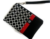 iPad Mini Case Cover, Kindle Wristlet, Padded Zipper Pouch, Black and White Circles with Red Accent