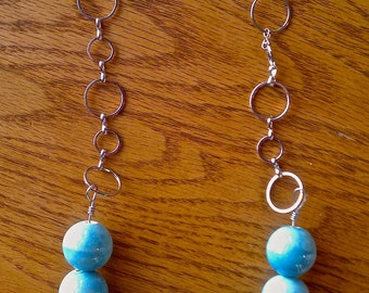 Silver Necklace with Blue Beads