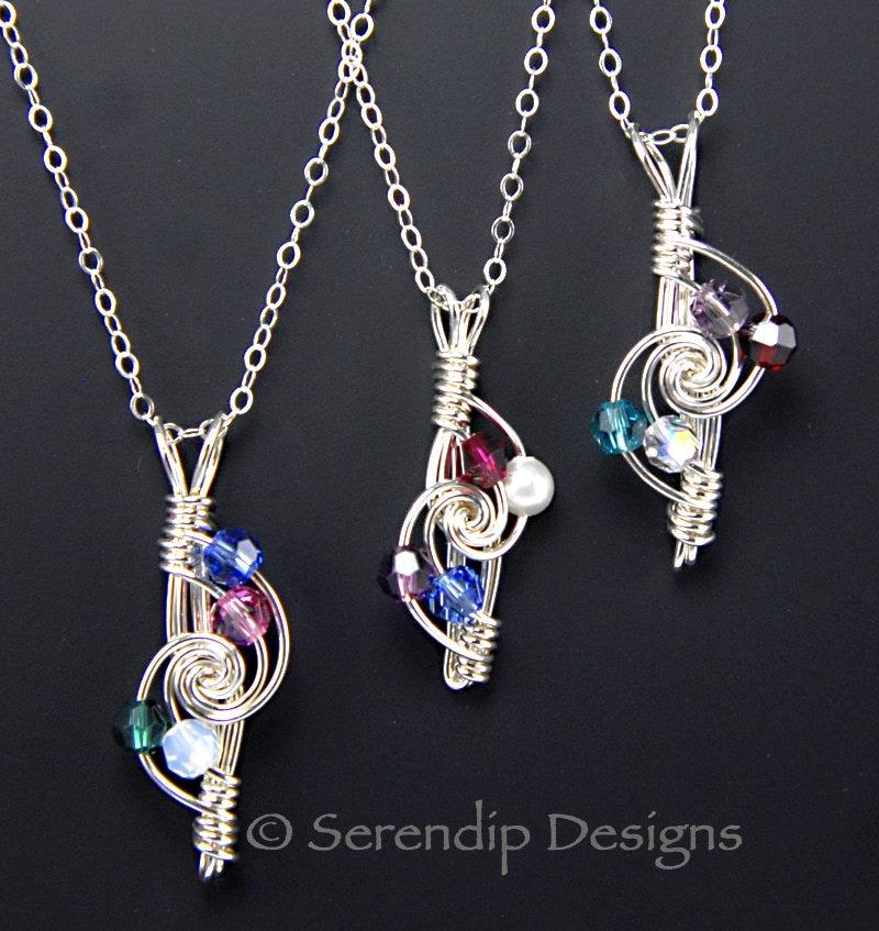 sterling silver mothers birthstone necklace four birthstones. Black Bedroom Furniture Sets. Home Design Ideas