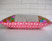 Vibrant Floral Pillow Cover - Pink Hexagon and Floral Pillow - Cottage Chic Girls Room