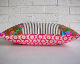 CLEARANCE Vibrant Floral Pillow Cover - Pink Hexagon and Floral Pillow - Cottage Chic Girls Room