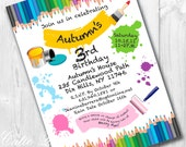 Paint Party Invitations, Printable Custom Invitations by Cutie Putti Paperie