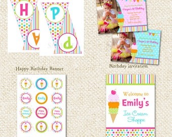 Ice Cream DIY Printable Birthday Party Package Party Pack