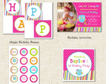 Owl DIY Printable Birthday Party Package Party Pack
