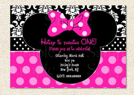 Items similar to Minnie Mouse Birthday Invitations on Etsy