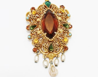 Vintage Florenza Brooch Amber Glass and Seed Pearls