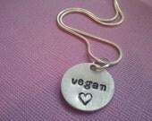 Vegan necklace. Hand stamped. Vegan Love