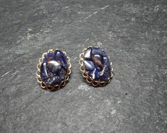 "Vintage 3/4 "" Goldtone Oval Multi Blue Marbled  Stone Clip On Earrings"