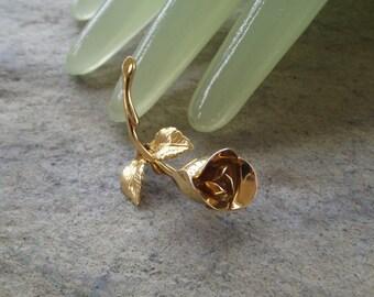 "Vintage 2"" Goldtone Single Rose Flower Pin by MONET"