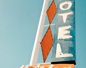 Vintage Motel Sign Photograph, Typography, Fine Art Travel Photograph, Graphic Designer Gift