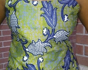 African Print Strap Top