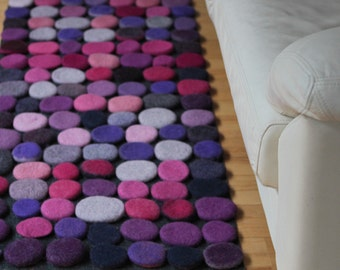 Hand made  felted wool rug. Made to order.