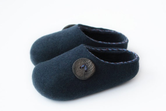 Felted Wool Slippers for Everyone. Navy Blue with Lucky Button decor. Size EU 42 ready to ship!