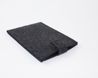 iPhone, Droid, etc. Sleeve - 100% Merino wool- Charcoal with Velcro Tab - Portrait