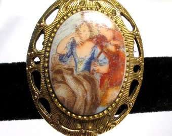 Vintage Fragonard Signed Lithograph Brooch with Man and Woman Courting