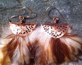 Reserved Copper Feather Love Earrings Organic and Cruelty Free