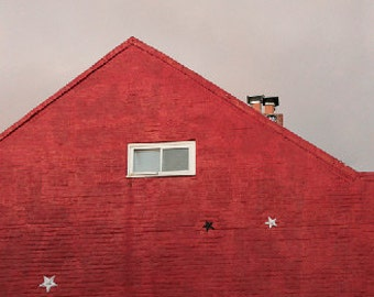 Red Building, Cloudy Sky, Abstract, Star, Angular, Minimalist, Brick, 8x10, photograph