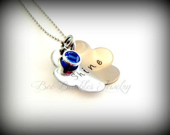 Hand Stamped Hand Stamped Necklace - Mothers Necklace- Mothers Jewelry- Birthstone Necklace