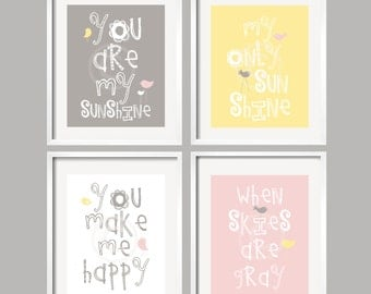 You Are My Sunshine Art, Pink Yellow Gray Wall Art Prints, Yellow and Grey Nursery Decor, Pink and Yellow Art Prints, Art for Girls