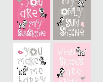 You Are My Sunshine Art Prints Yellow And Gray 8x10 Wall