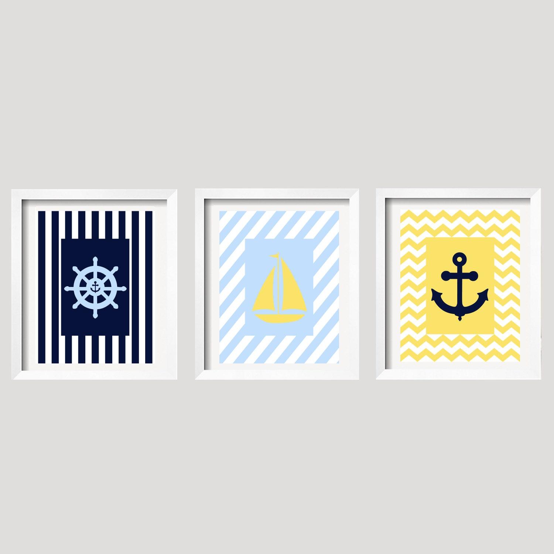 Anchor Wall Decor Nursery : Nautical wall decor sailboat nursery anchor set