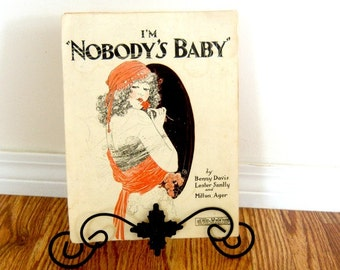 Vintage Sheet Music I'm Nobody's Baby Orange Decor Retro Living Single Woman