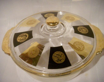 Fire King Cera Casserole, Black and Gold Coin Medallions, Mad Men Era, Neoclassical Style, Mid Century Kitchen Ware,
