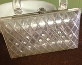 Lucite. Lucite Purse. Clear Lucite Purse with Rhinestones.