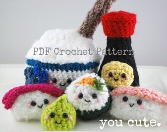 CROCHET PATTERN- Amigurumi Sushi Bar Collection