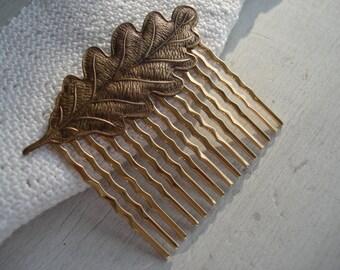 Antiqued Gold Oak Leaf Leaves Hair Comb Woodland Forest Nature Inspired