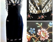 Vintage Apron Pinafore Black Rayon with Silk Petit Point Embroidery, Spray of Flowers