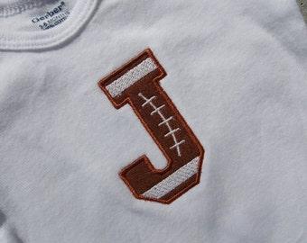 Football alphabet letter bodysuit - short or long sleeves - made to order