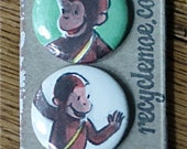 Curious George Upcycled / Recycled Pinback Button Set of Four (4)