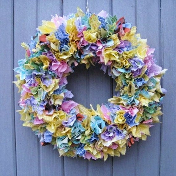 Spring Fabric Wreath Easter Rag Wreath Door Wreath Fabric