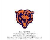 "Bear wall hanging 3D Emblem wall art - 12"" wide - blue and orange rust patina steel Chicago football"