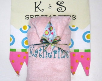 Personalized Monogrammed Hooded Towel for  A Girly Girl-Pretty in Pink